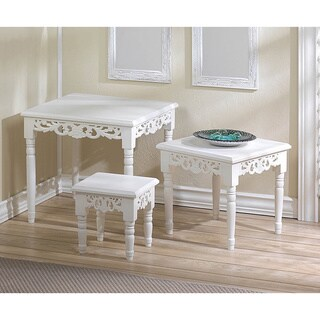 Romantic Stylish White 3 Piece Accent Tables