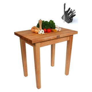 John Boos C06-O Country Maple 48x30x35 Work Table with Bonus Henckels 13-piece Knife Block Set