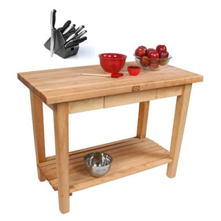 John Boos C06-D-S-TRL Country Maple 48x30x35 Work Table with Drawer and Shelf / Towel Rack and Henckels 13-piece Knife Block Set