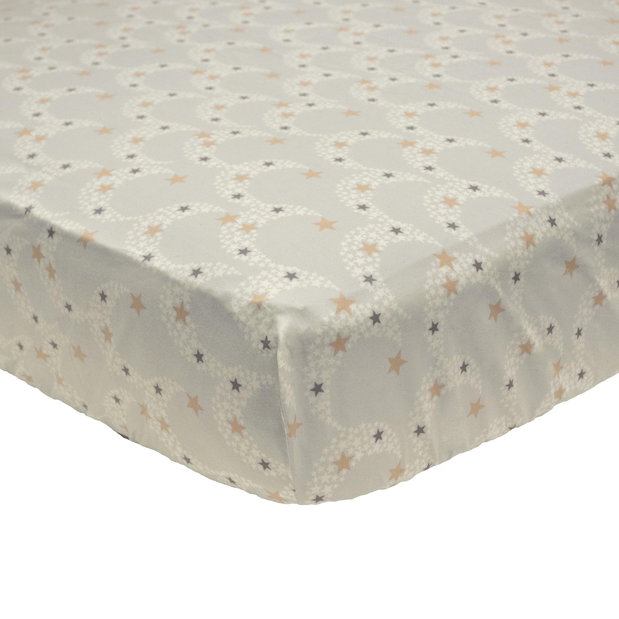 Petit Tresor Nuit Fitted Crib Sheet (Nuit), Grey (Cotton)