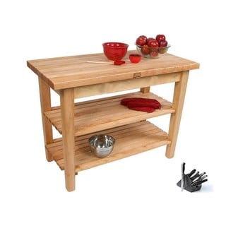 John Boos C06-2S-TLR Country Maple 48x30x35 Work Table with 2 Shelves / Towel rack and Henckels 13-piece Knife Block Set
