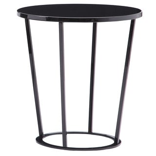 Massa Black Wood and Lacquer and Metal and Iron End Table