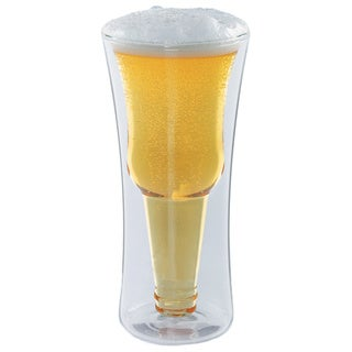 Modern Home Inverso Double Wall Borosilicate Inverted Beer Glass (Set of 2)