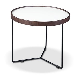 Trix Brown Glass and Metal End Table