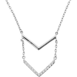 Meredith Leigh Sterling Silver Cubic Zirconia Layered Chevron Necklace