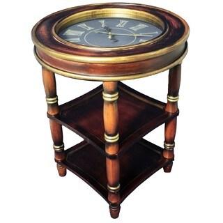 Casa Cortes Classic Round Clock Accent Table