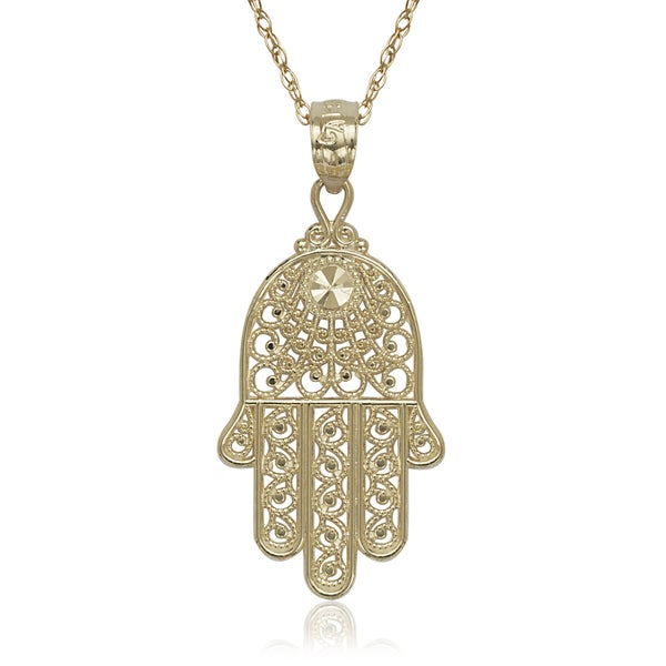 Curata 14k Yellow Gold Hand Of God Hamsa 16-inch Pendant