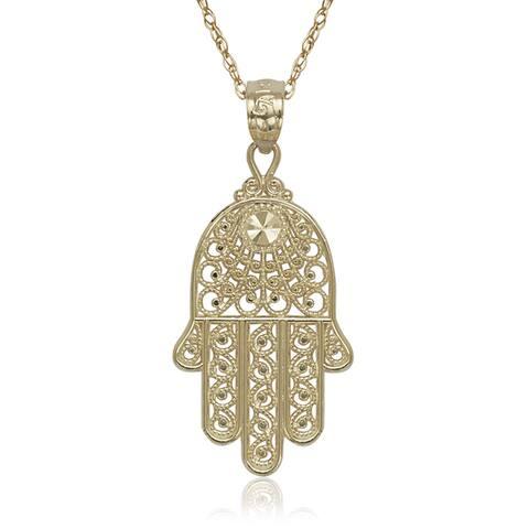 Curata 14k Yellow Gold Hand of God Hamsa 16-inch Pendant