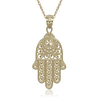 14k Yellow Gold Hand Of God Hamsa 16-inch Pendant