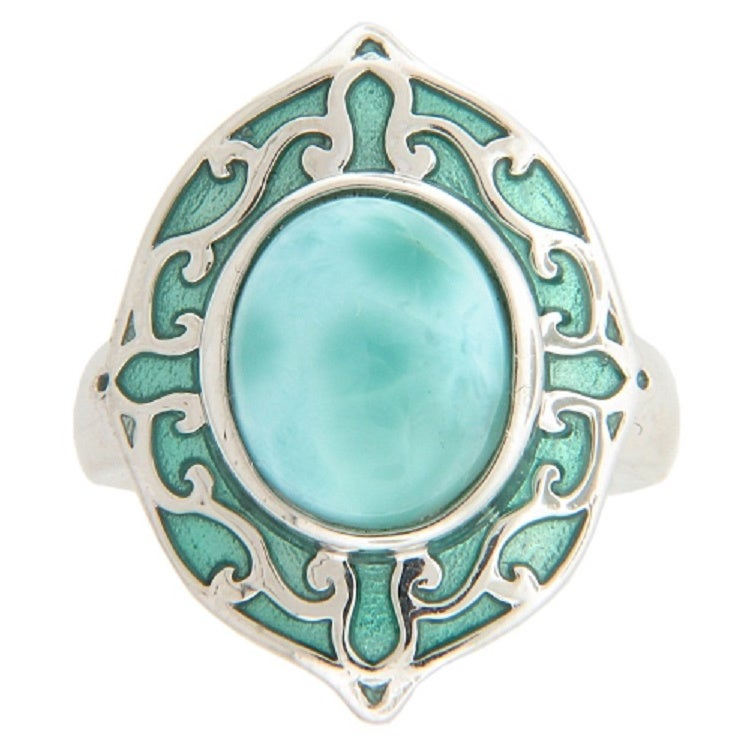 Sterling Silver Blue Larimar and Italian Enamel Ring (Siz...
