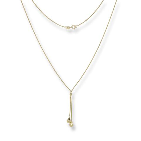 14k Yellow Gold 17-inch Teardrop Snake Lariat Necklace