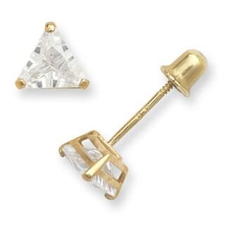 14k Gold 5mm Trillion-shape Cubic Zirconia Stud Screw-back Earrings
