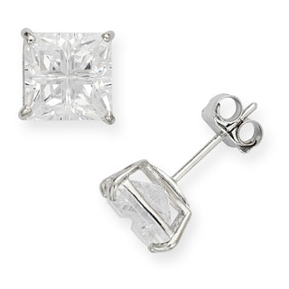 14k White Gold Cubic Zirconia 4-segment Princess Stud Earrings