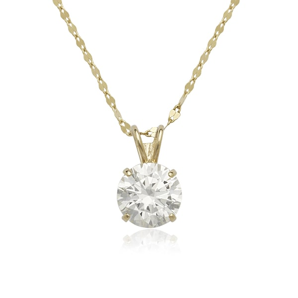 14k Yellow or White Gold Round Cubic Zirconia Solitaire Necklace. Opens flyout.