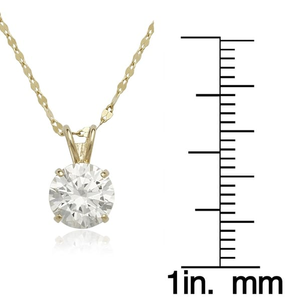 14K White Gold Necklace With Cubic Zirconia Solitaire 16 Inches