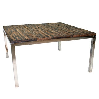 Avalon Brown Natural Wood and Stainless Steel Dining Table