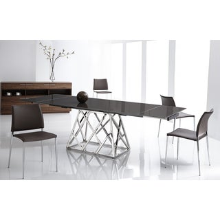 Ice Taupe Leather and Chrome Dining Chair (Set of 2)