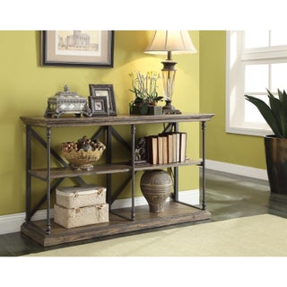 Somette Industrial Rustic Iron and Wood Media Console