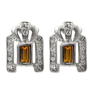 Luxiro Rhodium Finish Orange and White Crystals Crest Earrings