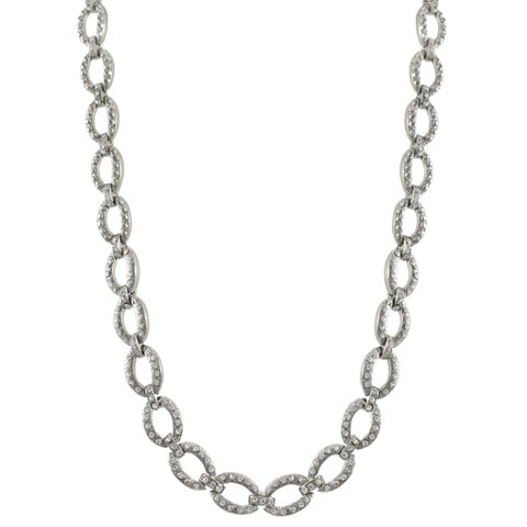 Luxiro Rhodium Finish Pave Crystals Oval Link Necklace - Silver
