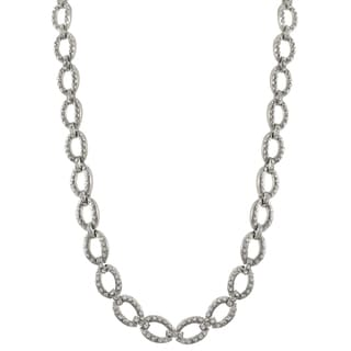 Luxiro Rhodium Finish Pave Crystals Oval Link Necklace