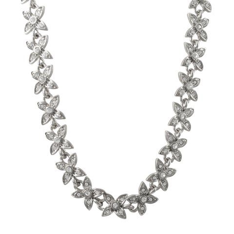 Luxiro Rhodium Finish Pave Crystals Floral Necklace - Silver
