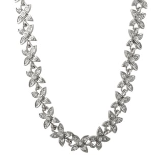 Luxiro Rhodium Finish Pave Crystals Floral Necklace