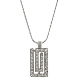 Luxiro Rhodium Finish Pave Crystals Greek Key Pendant Necklace