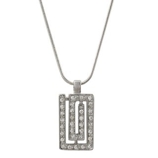 Luxiro Rhodium Finish Pave Crystals Greek Key Pendant Necklace