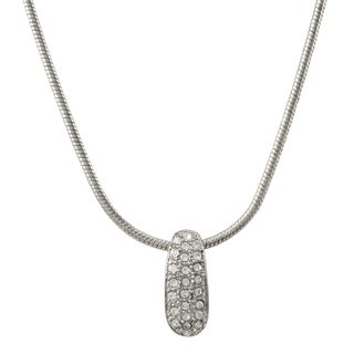 Luxiro Rhodium Finish Pave Crystals Crescent Pendant Necklace