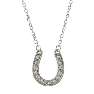 Luxiro Rhodium Finish Pave Crystals Horseshoe Pendant Necklace