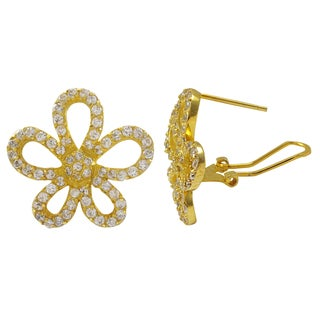 Luxiro Sterling Silver Gold Finish Pave Cubic Zirconia Flower Earrings