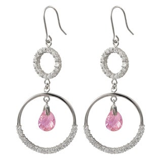 Luxiro Sterling Silver Pink Floating Cubic Zirconia Circle Earrings