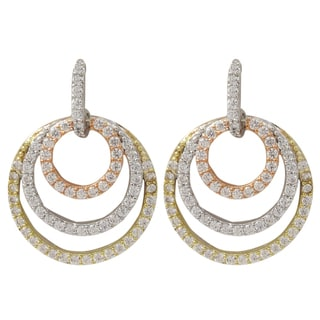Luxiro Tri-color Sterling Silver Cubic Zirconia Concentric Circle Dangle Earrings