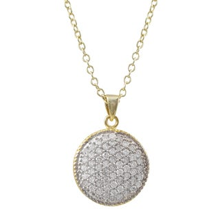 Luxiro Two-tone Sterling Silver Micropave Cubic Zirconia Circle Pendant Necklace