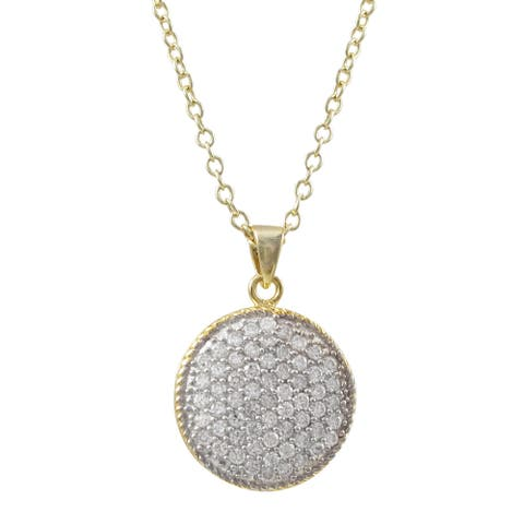 Luxiro Two-tone Sterling Silver Micropave Cubic Zirconia Circle Pendant Necklace - White