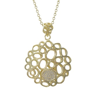 Luxiro Gold Finish Cubic Zirconia Open Circles Pendant Necklace