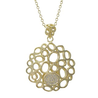 Luxiro Gold Finish Cubic Zirconia Open Circles Pendant Necklace (2 options available)
