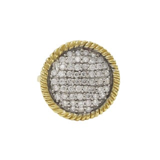 Luxiro Two-tone Gold Finish Sterling Silver Cubic Zirconia Statement Ring
