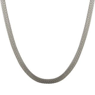 Luxiro Rhodium Finish Mesh Chain Necklace