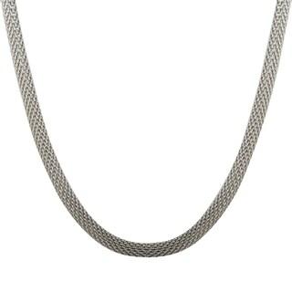 Luxiro Rhodium Finish Mesh Chain Necklace - Silver