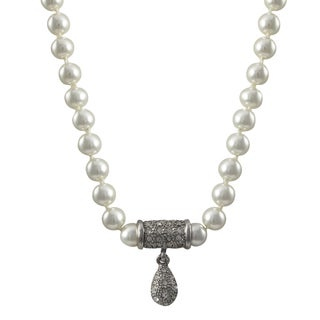 Luxiro Rhodium Finish Faux Pearls Pave Crystals Teardrop Pendant Necklace