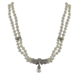 Luxiro Rhodium Finish Faux Pearls Pave Crystals Bow Statement Necklace