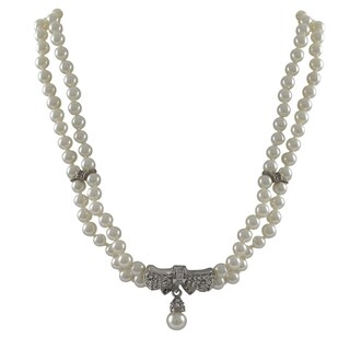 Luxiro Rhodium Finish Faux Pearls Pave Crystals Bow Statement Necklace - Silver