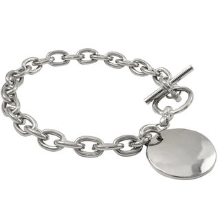 Luxiro Rhodium Finish Dog Tag ID Toggle Bracelet