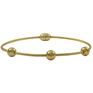 Luxiro Gold Finish Stainless Steel Wire and Ball Bangle Bracelet|https://ak1.ostkcdn.com/images/products/11404913/P18370186.jpg?impolicy=medium
