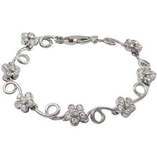 Luxiro Rhodium Finish Crystals Floral Swirl Bracelet