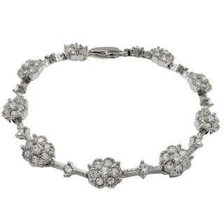 Luxiro Rhodium Finish Crystals Floral Link Bracelet