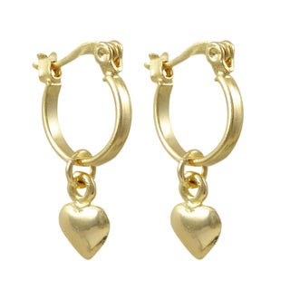 Luxiro Gold Filled Heart Children's Saddleback Dangle Earrings