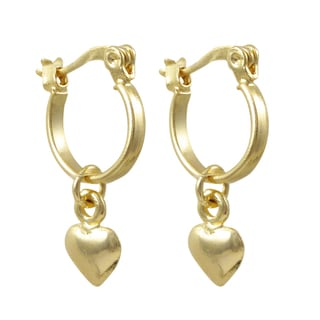 Luxiro Gold Filled Heart Children's Huggie Dangle Earrings